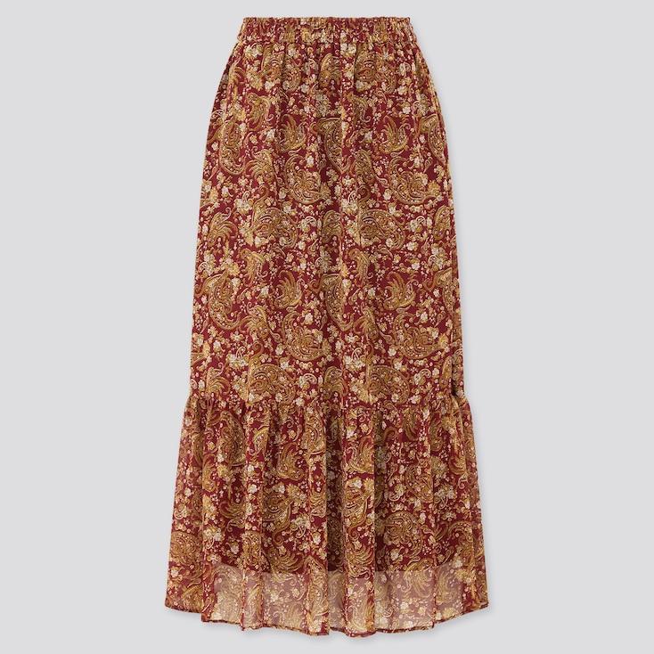 Women Joy Of Print Chiffon Tiered Long Skirt, Wine, Large