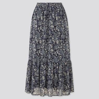 Women Joy Of Print Chiffon Tiered Long Skirt, Navy, Medium