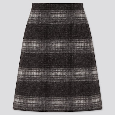 Women Wool-Blend Mini Skirt, Black, Medium