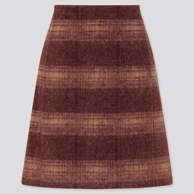 Women Wool-Blend Mini Skirt, Wine, Medium