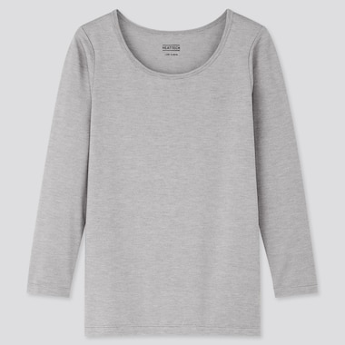 Kids Heattech Scoop-Neck T-Shirt, Light Gray, Medium