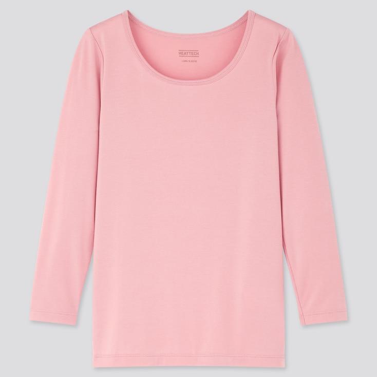 Kids Heattech Scoop-Neck T-Shirt, Pink, Large