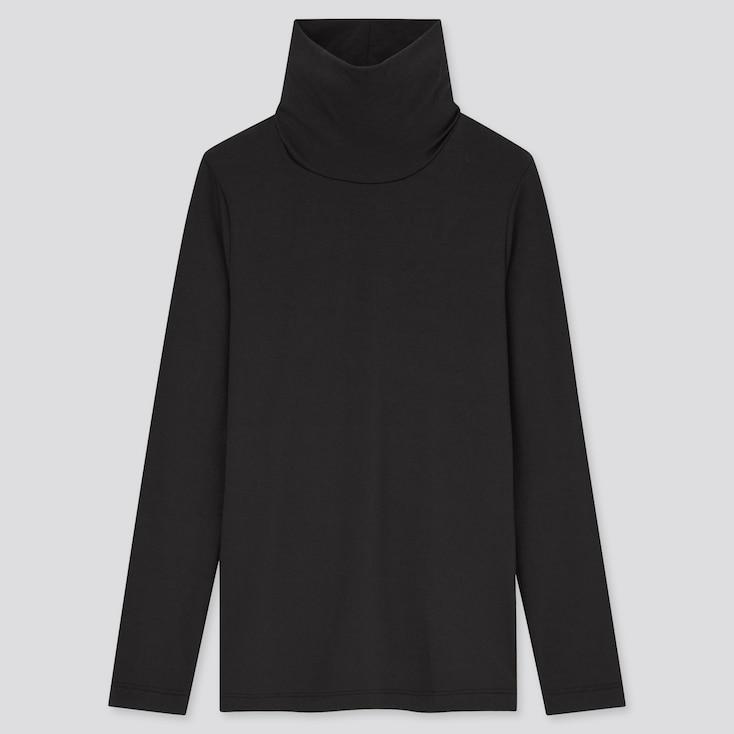 Kids Heattech Turtleneck Long-Sleeve Shirt, Black, Large