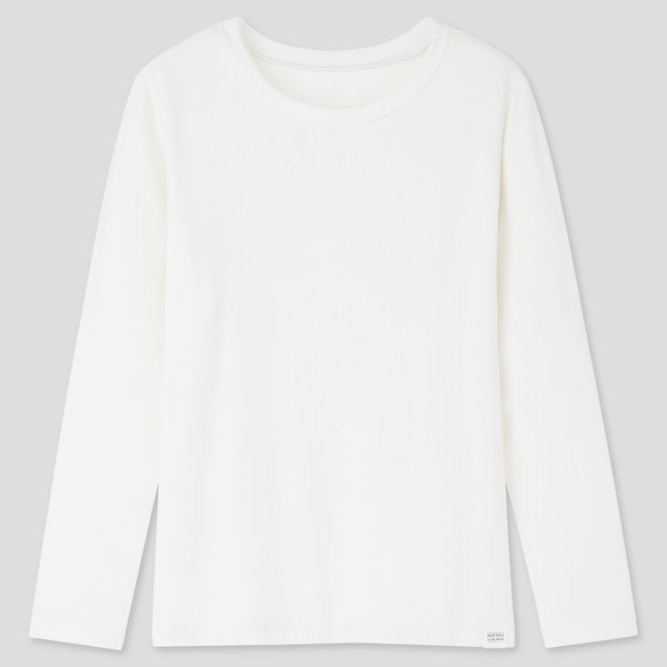 Kids Heattech Ultra Warm Crew Neck Long-Sleeve T-Shirt, White, Large