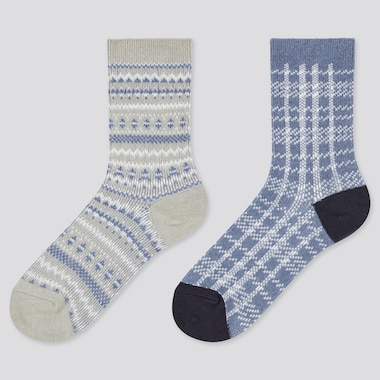 Kids HEATTECH Fairisle Print Thermal Socks (Two Pairs)