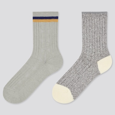 Kids Heattech Socks (2 Pairs), Gray, Medium