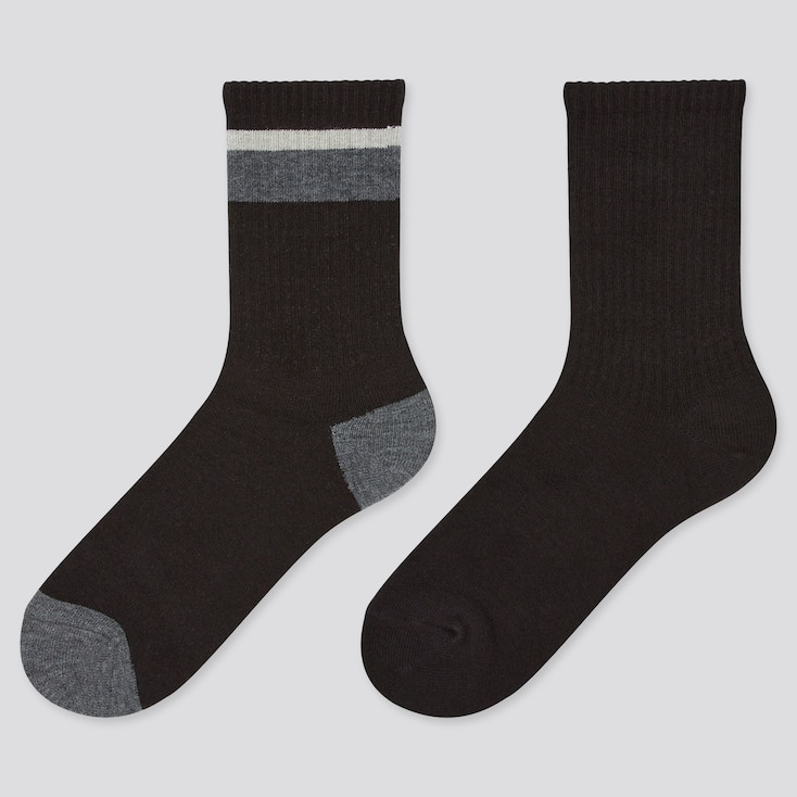 Kids Heattech Socks (2 Pairs), Black, Large