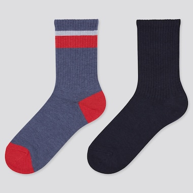 Kids HEATTECH Line Print Thermal Socks (Two Pairs)