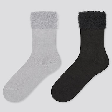 Girls HEATTECH Fluffy Thermal Socks (Two Pairs)
