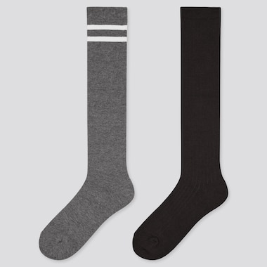 Girls Heattech High Socks (2 Pairs), Dark Gray, Medium
