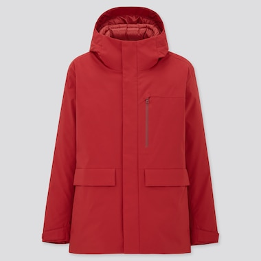 Men Hybrid Down Parka, Red, Medium