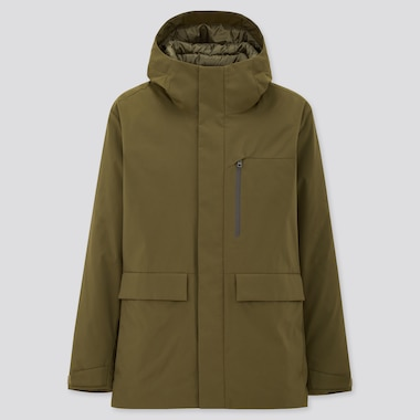 Men Hybrid Down Parka, Olive, Medium