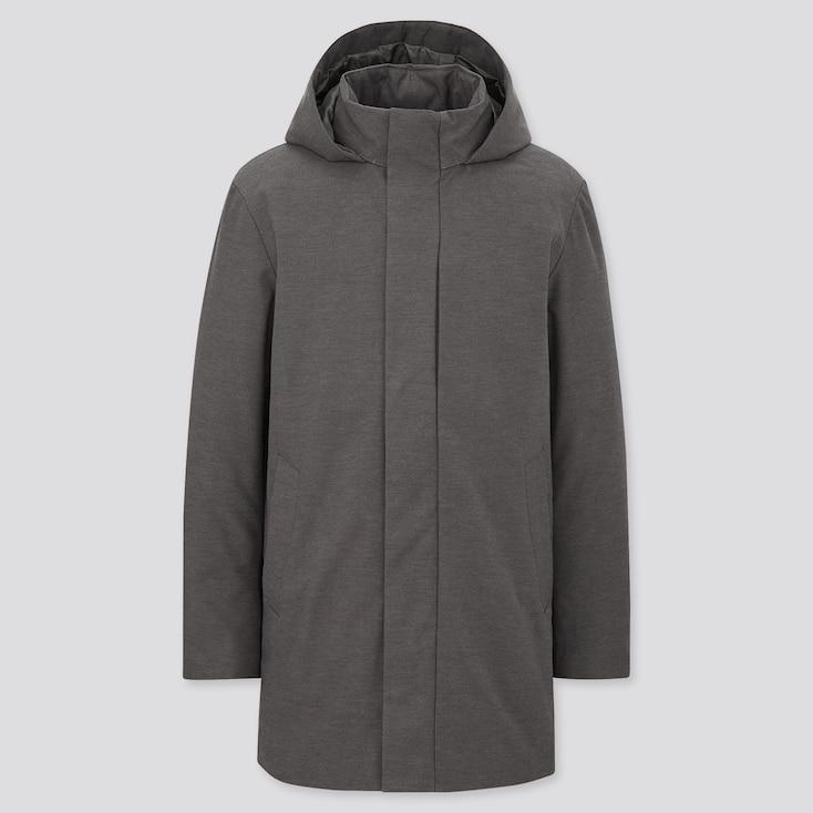 Men Hybrid Down Coat, Dark Gray, Large