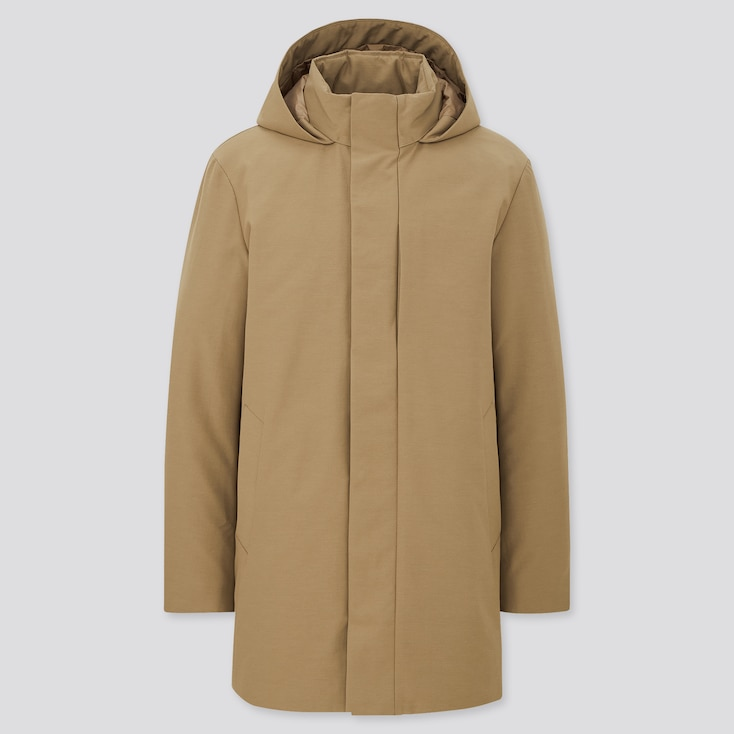 Men Hybrid Down Coat, Beige, Large