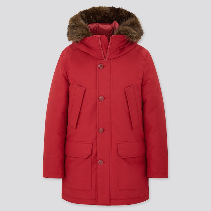 Men Ultra Warm Down Coat, Red, Large