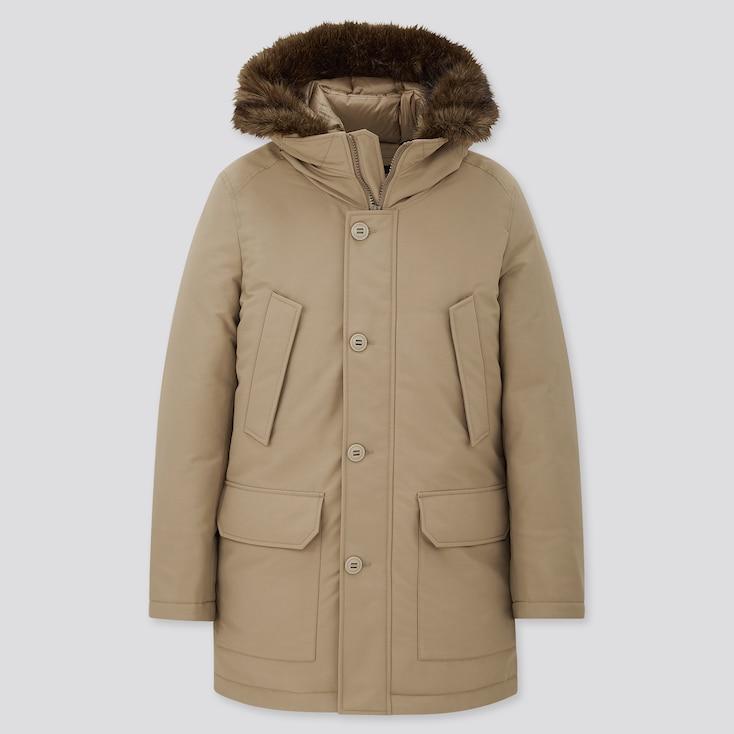 Men Ultra Warm Down Coat, Beige, Large