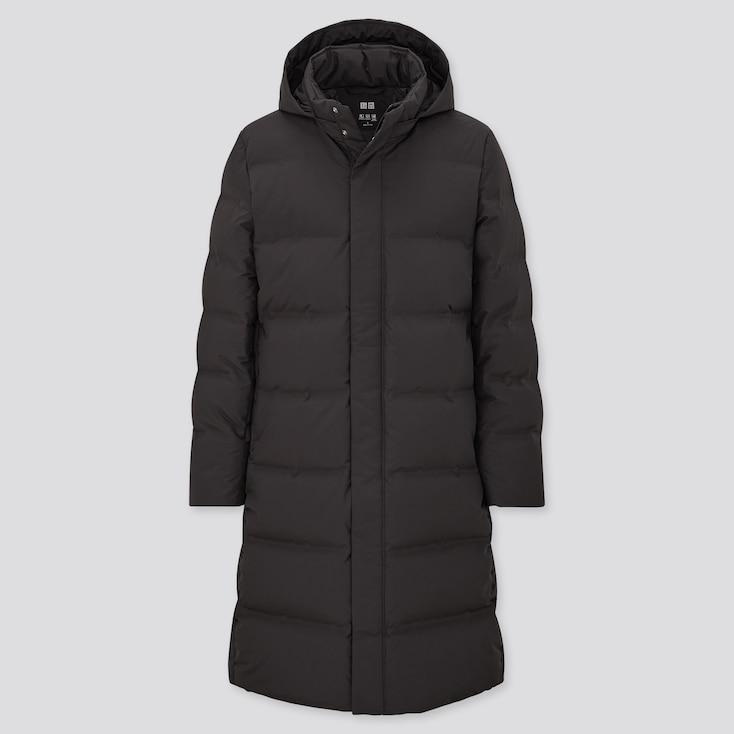 Men Seamless Down Long Coat, Black, Large