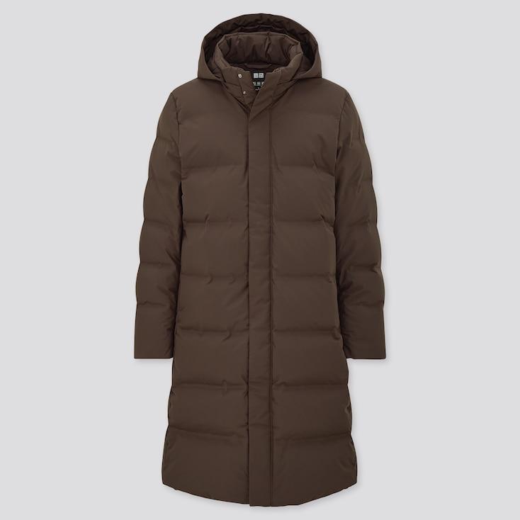 Men Seamless Down Long Coat, Dark Brown, Large