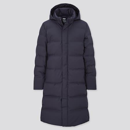 Men Seamless Down Hooded Long Coat