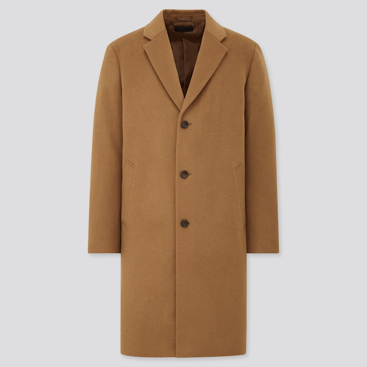 Men Wool Cashmere Chesterfield Coat, Brown, Large