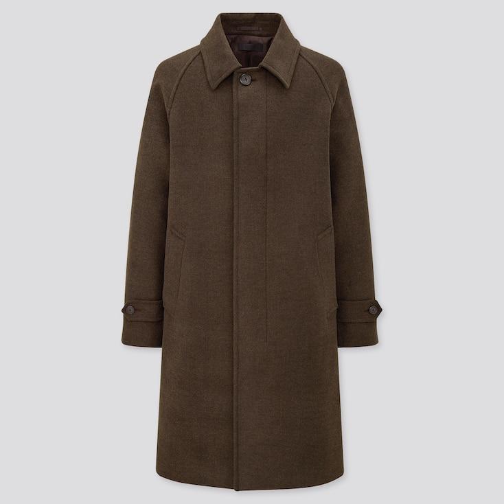 Men Balmacaan Coat, Dark Brown, Large