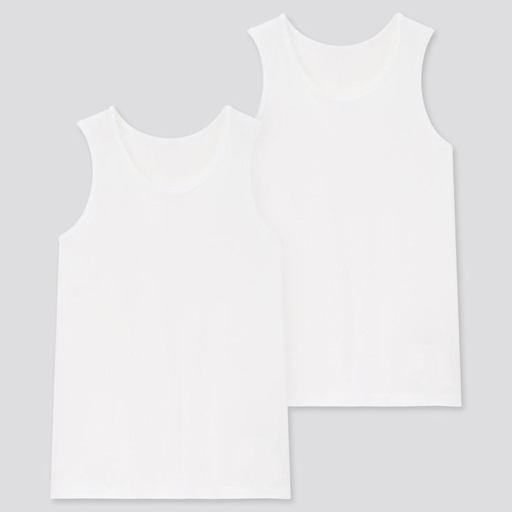 Kids Cotton Inner Tank Top (Set Of 2), White, Large