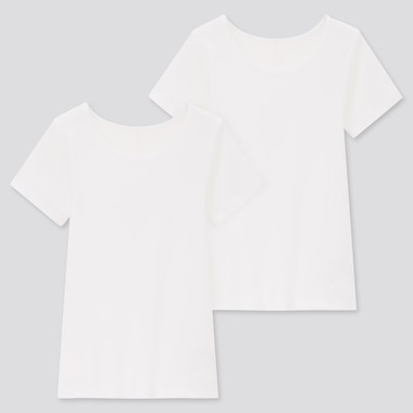 Kids Cotton Inner Scoop Neck T-Shirt (Set Of 2), White, Medium