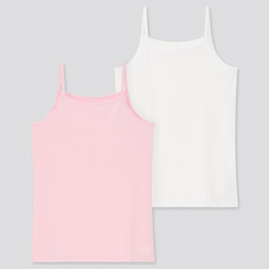 Kids Cotton Inner Camisole (Set Of 2), Pink, Medium