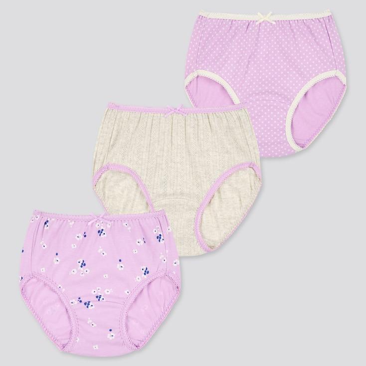 Girls Shorts (Set Of 3), Purple, Large