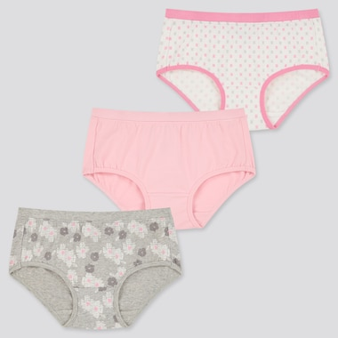 Girls Flower Printed Hiphugger Briefs (Three Pack)