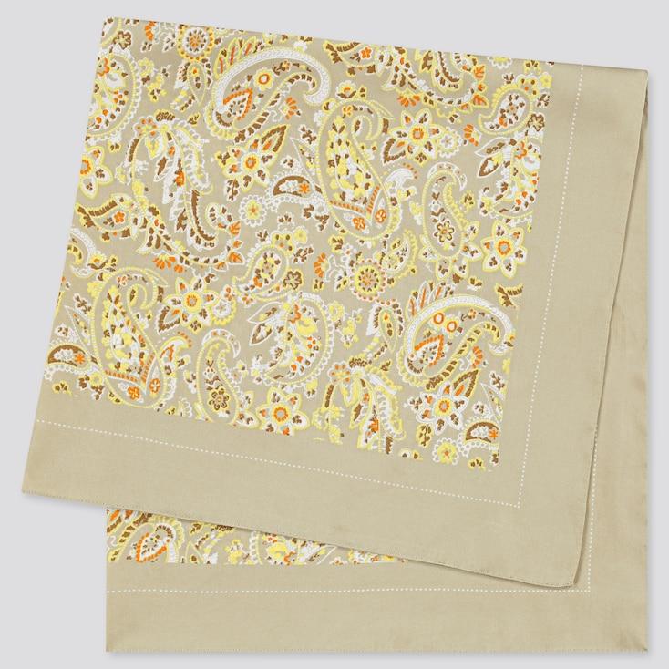 Women Printed Scarf, Beige, Large