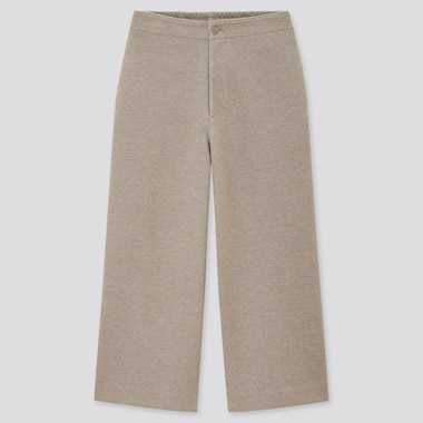 Women Wide Cropped Jersey Pants (Online Exclusive), Beige, Medium