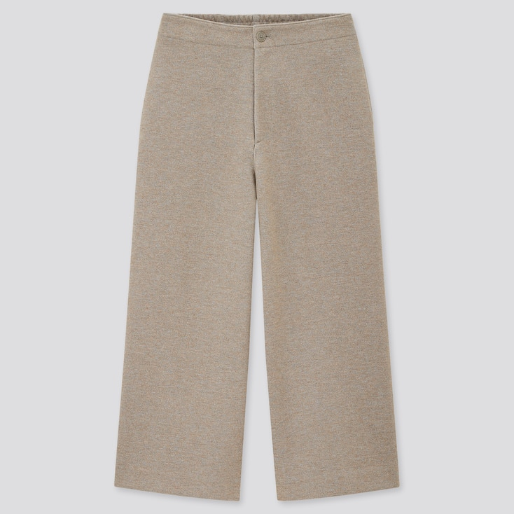Women Wide Cropped Jersey Pants (Online Exclusive), Beige, Large