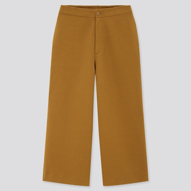 Women Wide Cropped Jersey Pants (Online Exclusive), Brown, Medium