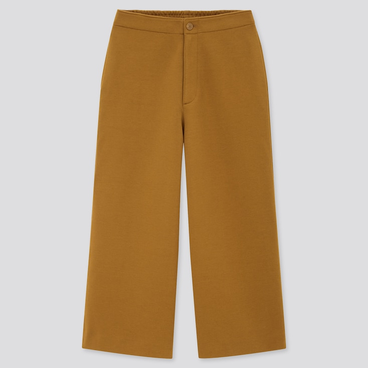 Women Wide Cropped Jersey Pants (Online Exclusive), Brown, Large