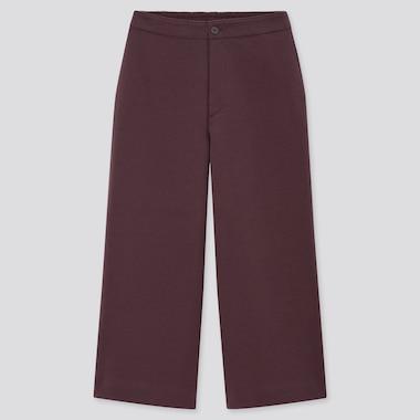 Women Jersey Wide Leg Cropped Fit Trousers