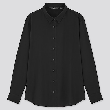 Women Rayon Long-Sleeve Blouse, Black, Medium