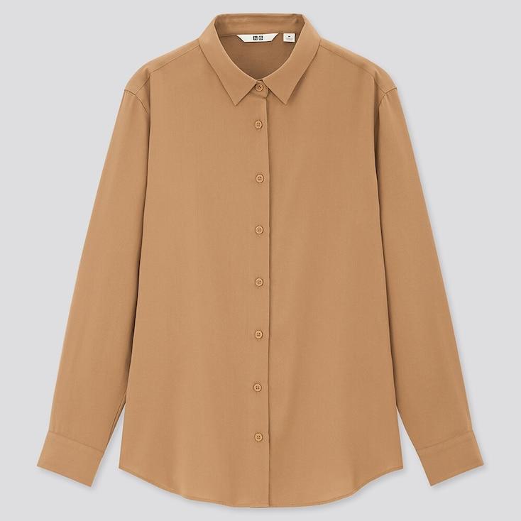 Women Rayon Long-Sleeve Blouse, Beige, Large