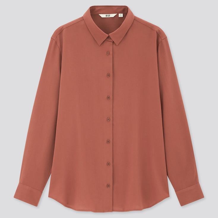 Women Rayon Long-Sleeve Blouse, Brown, Large