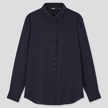 Women Rayon Long-Sleeve Blouse, Navy, Medium