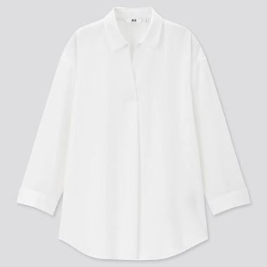 Women Rayon Skipper Collar 3/4 Sleeve Blouse, White, Medium