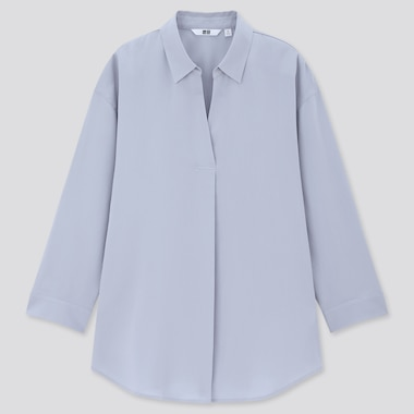 Women Rayon Skipper Collar 3/4 Sleeve Blouse,                                                                                                                 Blue, Medium