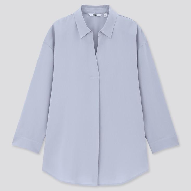 Women Rayon Skipper Collar 3/4 Sleeve Blouse, Blue, Large