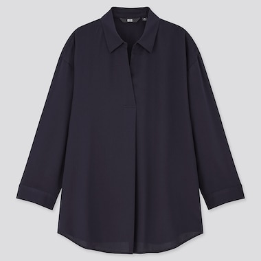 Women Rayon Skipper Collar 3/4 Sleeve Blouse, Navy, Medium