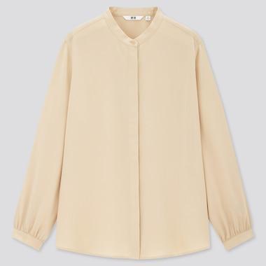 Women Rayon Band Collar Long-Sleeve Blouse, Beige, Medium