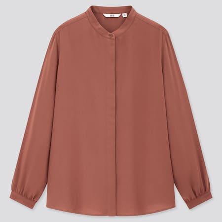 Women Viscose Grandad Collar Long Sleeved Blouse