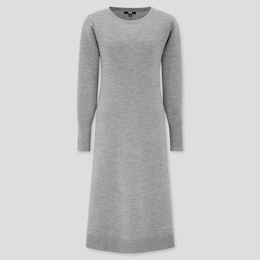 Women Knit Boat Neck Long-Sleeve Flare Dress, Gray, Medium