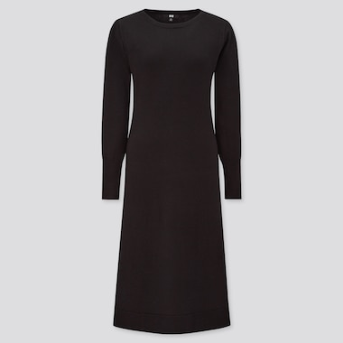 Women Knit Boat Neck Long Sleeved Flare Dress