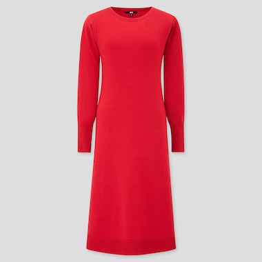 Women Knit Boat Neck Long-Sleeve Flare Dress, Red, Medium