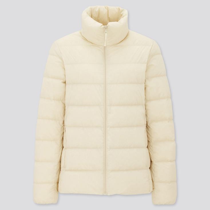 Women Ultra Light Down Jacket, Natural, Large